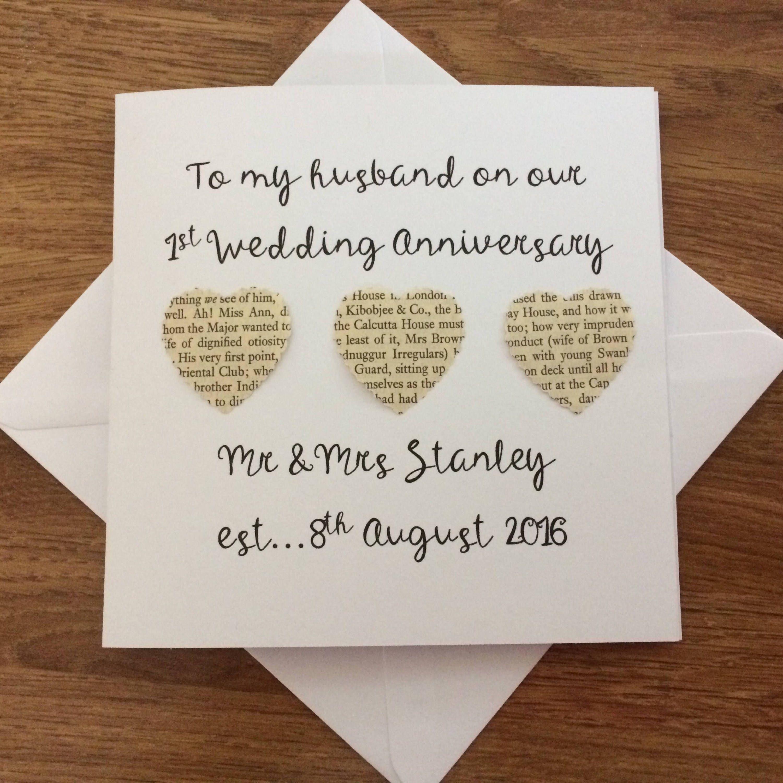 Personalised 1st Wedding Anniversary Card Handmade First
