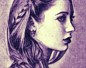 Violet color pencil drawing art print