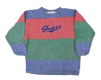 vintage 90s guess striped sweatshirts crew neck