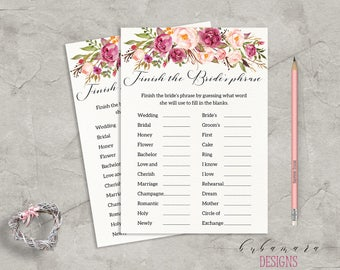 Floral Finish the Brides Phrase Bridal Shower Game Digital Bridal Trivia Pink Peonies Bohemian Printable Flowers Shower Quiz - BG014