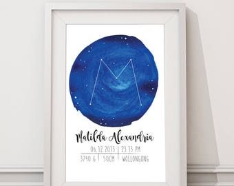 Digital file - Constellation birth announcement wall art / name poster / baby name / birth stats print / personalized baby gift / name print