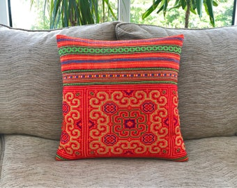 Embroidered Hmong cushion cover, boho cushion, bohemian decor, embroidered cushion, colourful cushion, throw pillow, Thai cushion