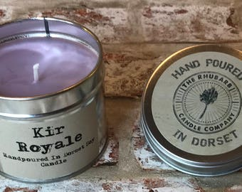 Kir Royale  Hand Poured Soy Wax Candle With Cotton wick. Made in Dorset