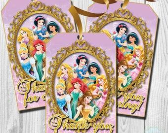 Disney Princess Thank You Tags, Disney Princess Favor Tags, PRINTABLE, You Print