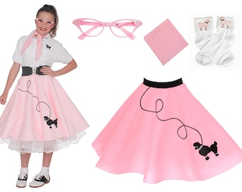 4 Pc LARGE Child 10 12 50s Poodle Skirt OUTFIT