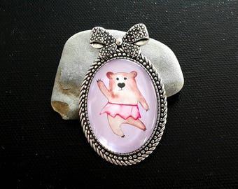 Ballerina bear brooch, bear jewelry, jewelry for kids, ribbon brooch, bear accessory, teddy bear badge, tutu bear pin, dancing ballet bear