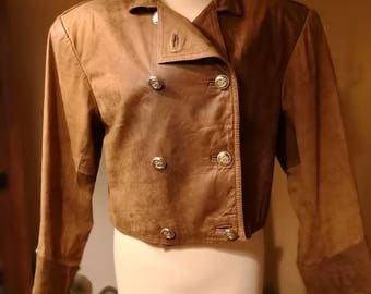 Leather brown jacket vintage 80s