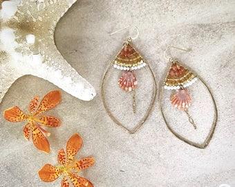 "Sunrise Shell Goldfilled Earrings ""Sienna Seas"""