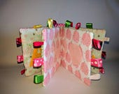 Quiet books to keep little ones busy by alliesquietbooks on etsy pink polka dots soft book baby sensory toy baby book easter gift negle Images