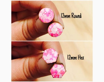 12mm Strawberries and Cream Glitter Pop Resin/Bamboo Stud Earrings • Round • Hexagon • Surgical Steel • Hypoallergenic • Pink • White •