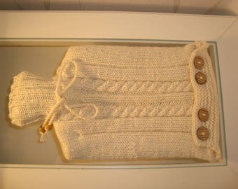 Hot water bottle and cover in beige bright winter