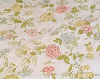 Vintage Floral Pillowcase  /  Mint Green Yellow Pink Green Blue  /  Reuse  Repurpose  Collect  Craft