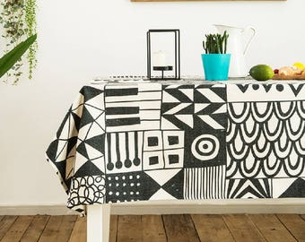 rocky mountains cloth tablecloths geometric print tablecloth rectangular tablecloth black and white