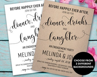 Engagement Invitation | Elegant Engagement Party | Shabby Chic Engagement Invites | Before Happily Ever After | Dinner, Drinks, and Laughter