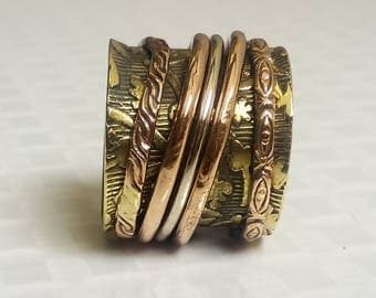 Brass Spinner Rings | Ethnic Fashion Ring | Party Wear Jewelry Ring | Spinning Band Jewelry Ring | 5 Spinning Ring | Tribal Gypsy Ring |R130