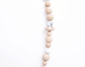 Pacifier pacifier silicone marble beads and organic and natural wood beads