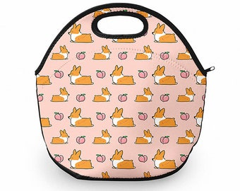 Light Pink Corgi Peach Sploot Neoprene Fabric Lunch Tote | 12 x 12 inches with Zip Top | Customizable and Made to Order