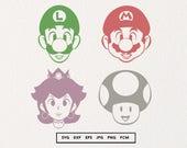 Mario SVG, Luigi Decal, Princess Peach, Toad SVG, Super Mario Svg, Super Mario Stickers, Mario Bros Clipart, Nintendo, SVG Bundle, Cut Files