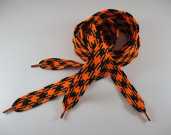 1 pair of laces, Large, black and orange colors, width 2 cm.