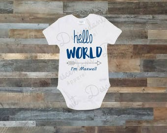 Personalized Hello World onesie, newborn outfit, take home outfit