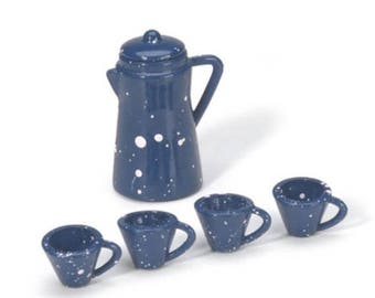 20% Off Storewide Miniature Coffee Urn and Cups, Tiny Blue Coffee Mugs, Mini Dishes for Fairy House, Fairy Gardens, Dollhouses, Terrariums,