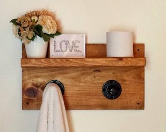 Pipe Shelf, Dorm Decor, Wall Shelf, Rustic Floating Shelf, Towel Rack, Bathroom Shelf, Wood Shelf, Bathroom Storage, Shabby Chic Decor