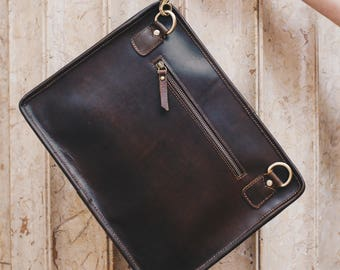 Leather iPad bag, Macbook case, A4 leather Folio bag with wrist and shoulder strap - Niche Lane iPouch Pro Coffee