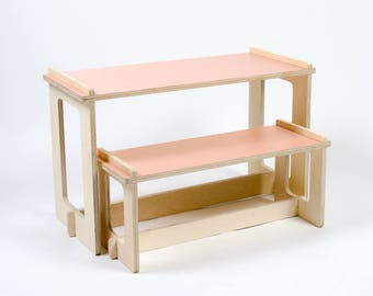 Pink Table And Bench, Kids Play Table, Wood Bench, Kids Table, Toddler
