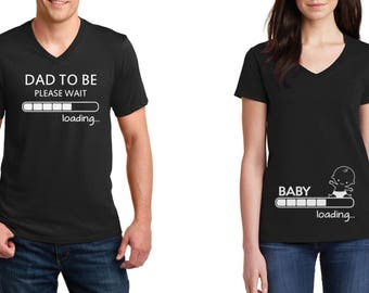 V-neck #4 - Pregnancy Funny Couple T-Shirts - Baby Loading - Dad To Be Maternity - Baby Shower Tee - Pregnancy Announcement Shirt