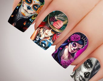 SUGAR SKULL - Halloween Day of the Dead Full Nail Decal Water Transfer Tattoo #5209