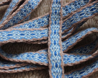 Tablet woven viking belt; medieval trim; beige, blue and white colors celtic ribbon, ancient textile design, diamond pattern band, strap