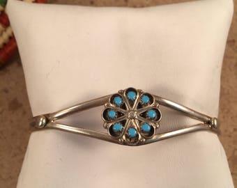 Vintage Zuni Turquoise & Sterling Silver Petit Point Cuff Bracelet