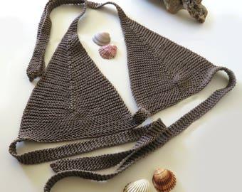 Light Brown Bralette, Cotton Bra, Knit Bikini, Yoga Top