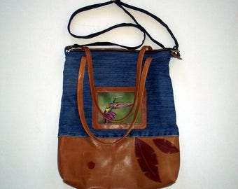 bag leather and denim with Hummingbird