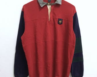 RARE!!! Vintage Polo UNI CREST By Ralph Lauren Small Logo Embroidery Red Colour Rugby Polos Long Sleeve T-Shirts Hip Hop Swag M Size