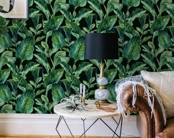 Tropical wallpaper, Peel and stick wallpaper, Leaves wallpaper, Tropical wall decal, Removable wallpaer, BW089