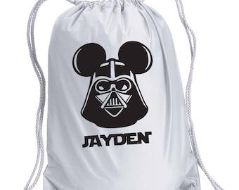 Disney Backpack,Darth Mickey,Star Wars Inspired Bag,drawstring bag,Disney Bag,Darth Vader Day Bag,Disney bag,Mickey Drawstring bag