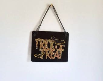 Trick or Treat Halloween Plaque  Festive Wooden Decor