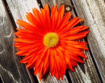 Neon Orange Daisy silk flower hair clip