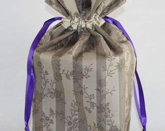 Taupe Stripe Fabric Gift Bag - Small