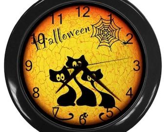 Halloween wall clock decor black cats  Halloween decor cats clock