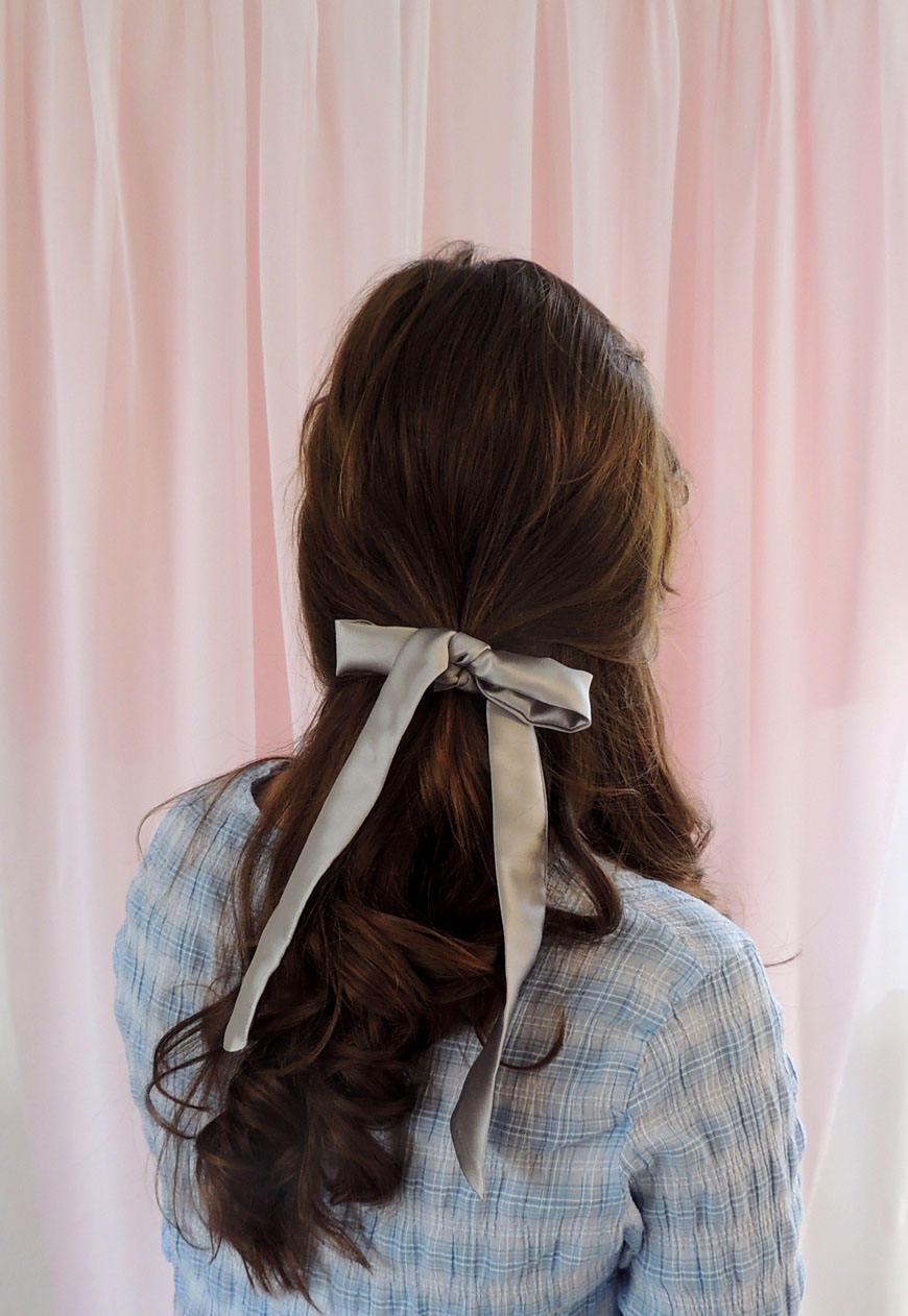 Grey silk tie, pale grey hair scarf, fabric hair scarf, silk scarf ...