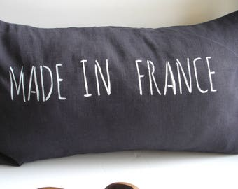 """Cushion cover in purple blue washed linen inscription """"Made in France"""" in white"""