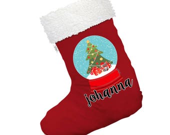 Personalised Christmas Snow Globe Large White Christmas Stockings Socks With White Fur Trim