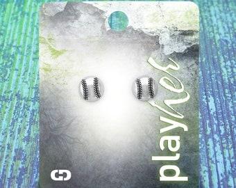 Softball Post Earrings, Silvertoned - Great Softball Gift! Free Shipping!
