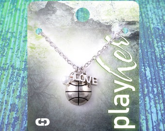 Customizable! Silvertoned Basketball Love Necklace - Personalize with Jersey Number, Heart Charm, or Letter Charm! Great Basketball Gift!
