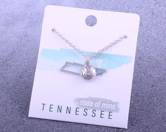 Customizable! State of Mine: Tennessee Volleyball Silvertoned Necklace - Great Volleyball Gift!