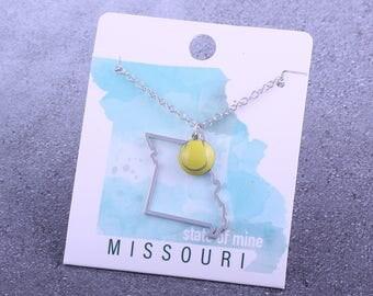 Customizable! State of Mine: Missouri Tennis Enamel Necklace - Great Tennis Gift!