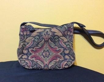 Vintage Fossil Tabestry Shoulder Bag with Leather Trim