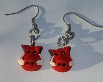 Razorback earrings, handmade, polymer clay